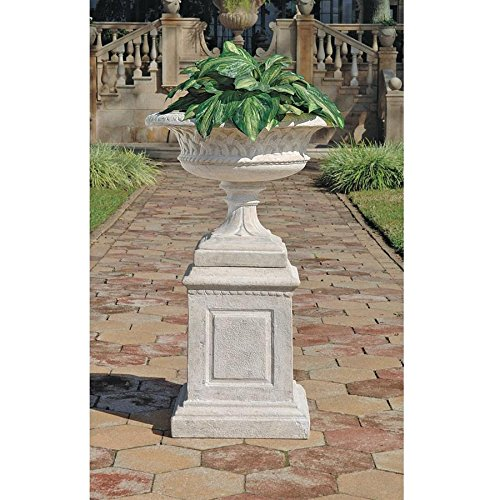Design Toscano Larkin Arts and Crafts Architectural Garden Urn and Plinth Set (Fiberglass Garden Urns)