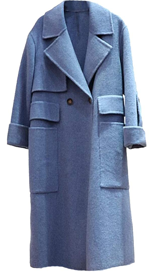 3 Esast Womens Classic Double Breasted Laple Long Wool Trench Coat Overcoat