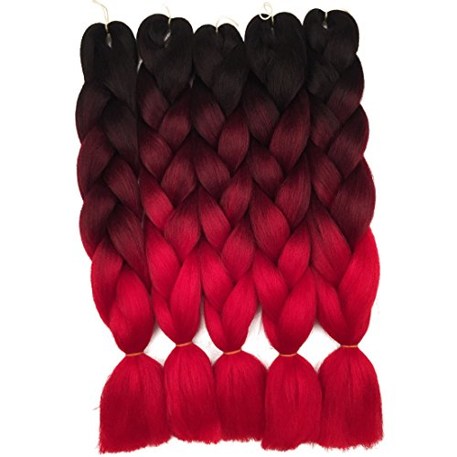 Braiding Hair Weaving - 5 Pieces Ombre Synthetic Braiding Hair Jumbo Braids Hair Braiding Kanekalon Mambo Twist Synthetic Hair Extension (24, black-purple-red) (24, black-wine-red)