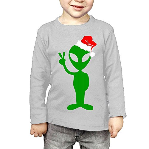 ZheuO Boys & Girls Infant Funny Peace Alien Santa Cozy 100% Cotton T-Shirts Unisex Gray 5-6 Toddler (Mod Swing Coat)