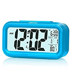 [Upgrade Version] ZHPUAT 4.6 Smart Backlight Alarm Clock with Dimmer (Blue)