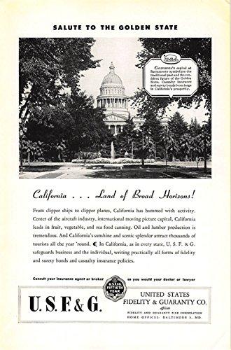 Print Ad 1946 United States Fidelity   Guaranty California Land Of Broad