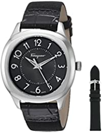 Women's 'FERRAGAMO TIME' Swiss Quartz Stainless Steel and Leather Casual Watch, Color:Black (Model: F42020017)