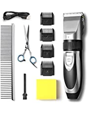 TIMPROVE Dog Clippers, Dog Grooming Kit Low Noise Pet Hair Trimmers USB Rechargeable Cordless Professional Shaver for Small Medium Large Pets Dogs Cats