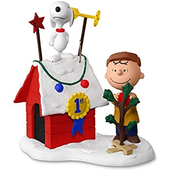 Hallmark Keepsake 2017 PEANUTS Charlie Brown and Snoopy Decked-Out Doghouse Sound Christmas Ornament With Light