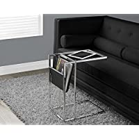 Monarch Specialties Black/Chrome Metal Accent Table with a Magazine Holder
