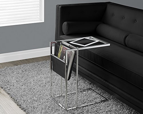Monarch Specialties Black & Chrome Metal 19x12 Accent Table