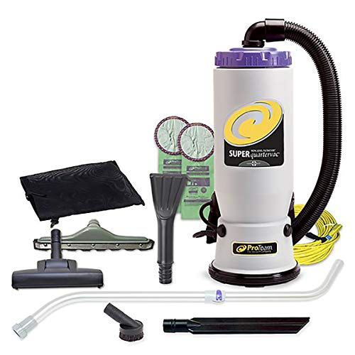 ProTeam Commercial Backpack Vacuum Cleaner, Super QuarterVac Vacuum Backpack with HEPA Media Filtration and Residential Cleaning Service Kit, 6 Quart, Corded (Best Vacuum For Cleaning Service)