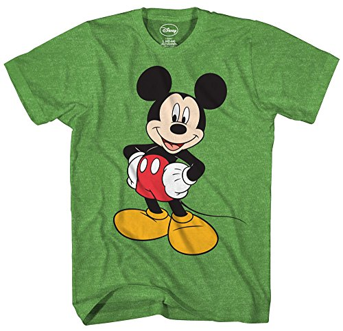 Mickey Mouse Disney Funny Graphic Tee Classic Vintage Disneyland World Mens Adult T-Shirt Apparel (Large, Heather -