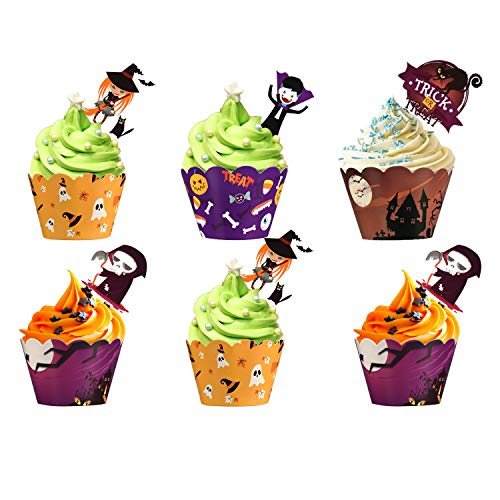 MGparty 48 pcs Halloween Party Supplies Cupcake Toppers Wrappers, Four Different Types Toppers Wrappers for Cake Decorations