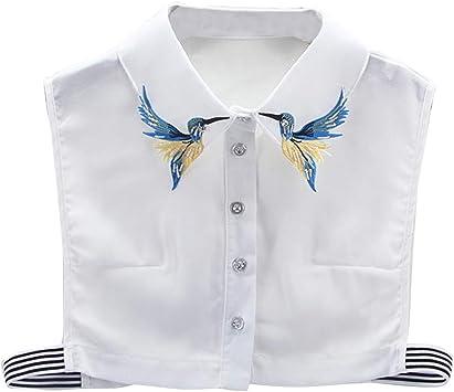 Jacinto Falso Cuello Bordado Pájaro Mujeres Desmontable Falso Media Camisa Blusa Cuello Simple Blanco: Amazon.es: Deportes y aire libre