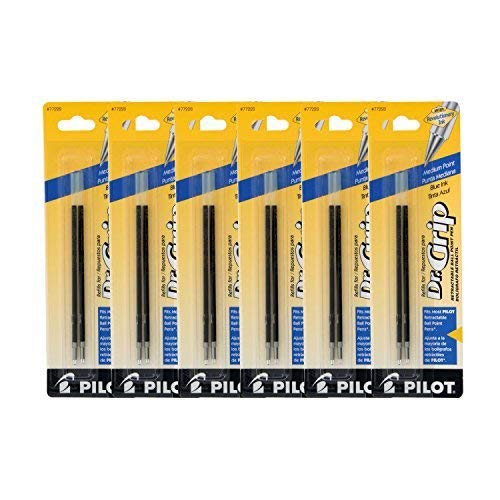 (Pilot Better/EasyTouch/Dr Grip Retractable Ballpoint Pen Refills, 1.0mm, Medium Point, Blue Ink, Pack of 12)