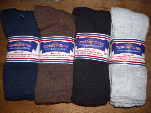 Socks 10-13 - Cotton Blend Physician's Choice Seamless 12 Pack Black, Blue, Brown, Gray Made In USA ()