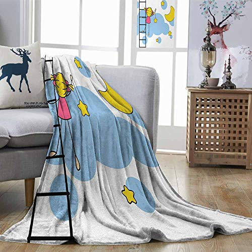 Zmstroy Throw Blanket Star Cute Girl on Ladder Hanging a Star in The Night Sky with Half Moon Cartoon Picture Yellow Blue All Season Blanket W60 xL80]()