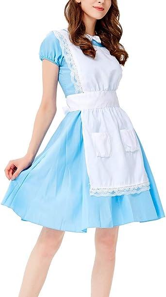 WFRAU Oktoberfest damska sukienka Dirndl 3 sztuki niebieska sukienka + fartuch z kieszenią + nakrycia głowy Maidservant sukienka piwna Dessous Bayerisches Bier odzież wyczynowa dziewczynka cos impreza sukienka
