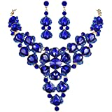 BriLove Women's Wedding Bridal Crystal Multi Teardrop-Shape Flower Statement Necklace Dangle Earrings Set Royal Blue Gold-Tone