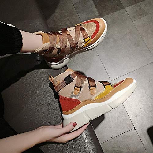 de Deportivos Zapatos Hip Beige Zapatos Lucdespo Señoras Altos Hop Hop Zapatos Zapatos Moda Zapatos Hip Altos de Ocasionales Transpirables Malla EIwx0x5q
