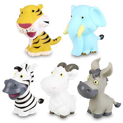 Bath Toys Peradix Baby Bath Assorted Floating Soft Animal Set for Fun Water Bath Tub Shower Bathtime 5pcs with Bag for Hang Dry