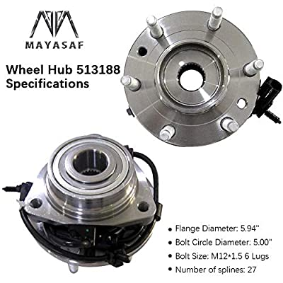 MAYASAF 513188x2 Front Wheel Hub and Bearing Assembly 6 Lug w/ABS Fit 02-09 GMC Envoy/Chevy Trailblazer/03-06 SSR, 02-04 Olds Bravada, 03-08 Isuzu Ascender Saab 9-7X, 04-07 Buick Rainier RWD (2 PCS): Automotive