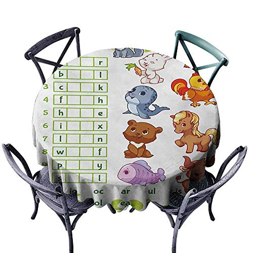 Dust-Proof Tablecloth Word Search Puzzle Rebus Game with Animals for Preschool Kids Find Correct Part of Words Multicolor Picnic D35 ()