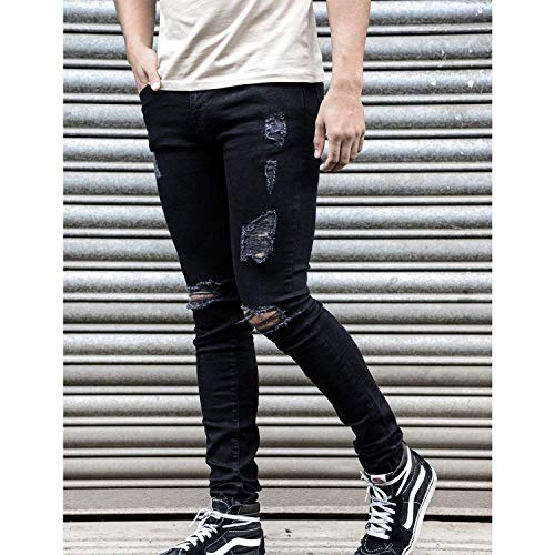 De Destroyed Pantalones Slim Fit Pants Stretch Joven Jeans para Blue Skinny Black Negro Hombre Ripped Holes Vaqueros Mezclilla Cher 5CxwwXzq1