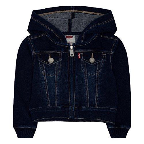Levi's Girls' French Terry Trucker Jacket, Indigo Night, 12 Months (Levis Soft Wash)
