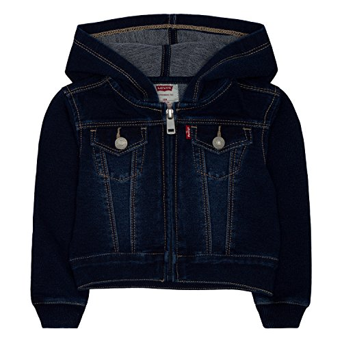 (Levi's Girls' Terry Trucker Jacket, Indigo Night, 12M)