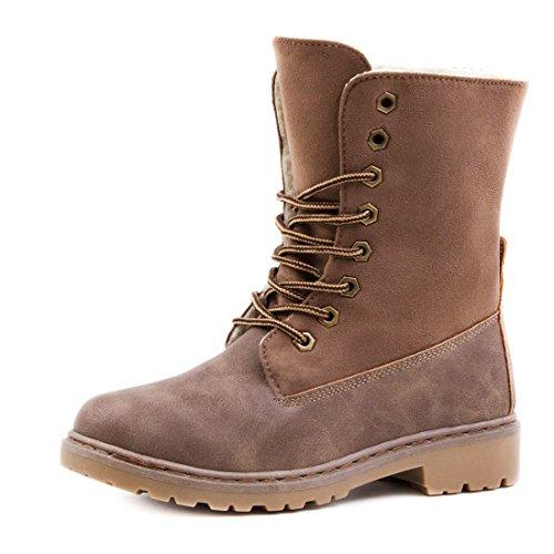 Damen Worker Boots Schnür Stiefel Stiefeletten in Lederoptik gefüttert - auch in Übergrößen Khaki Paris Wild
