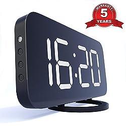 TrendHolders Home LED Clock-No Frills Simple Operation-Large Night Light-Loud Alarm-Snooze-Full Range Brightness Dimmer-Big White Digit Display