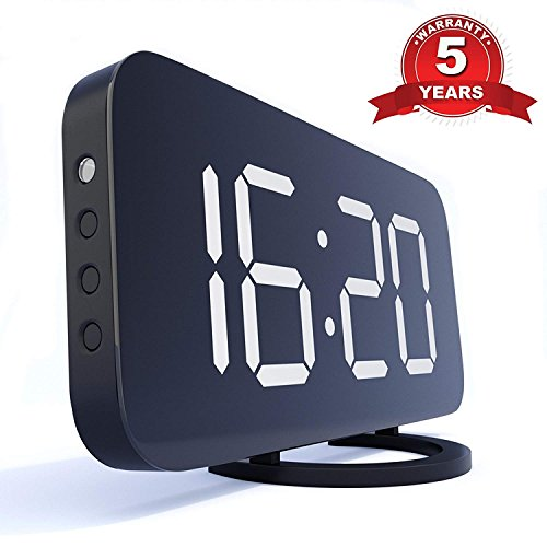 TrendHolders Home LED Clock-No Frills Simple Operation-Large Night Light-Loud Alarm-Snooze-Full Range Brightness Dimmer-Big White Digit Display