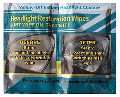 Yellow Off Headlight Cleaner Wipes