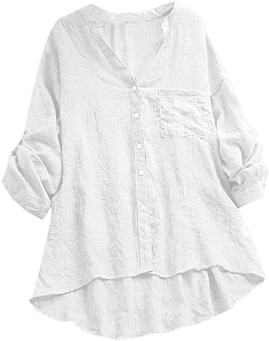 Blusas de Mujer Tallas Grandes Algodón Lino Casual Ver a través de Manga Larga con Cuello en v Bolsillo Blusa Superior de Oficina Suelto Verano LiNaoNa: Amazon.es: Ropa y accesorios