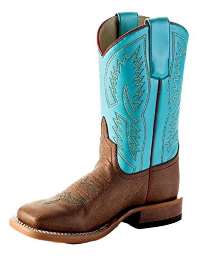 (Anderson Bean Boys Brown Mad Dog Turquoise Wave Cowboy Boots 1 Child Bone Mad Dog Turquoise Wave )