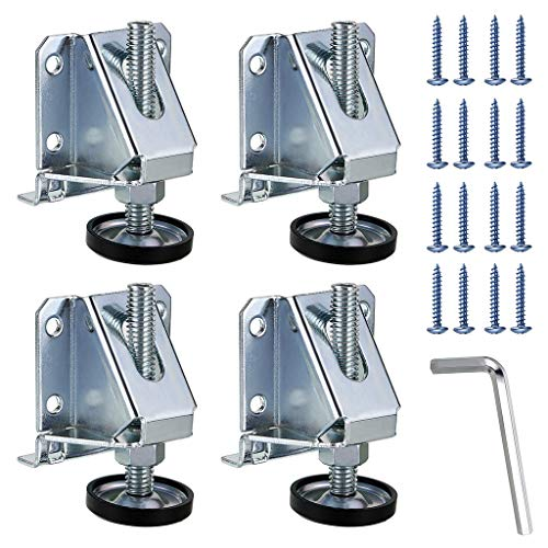 OwnMy Heavy Duty Adjustable Leveling Feet Hexagon Nuts Lock Furniture Legs Levelers for Furniture, Table, Cabinets, Workbench, Shelving Units and More ()