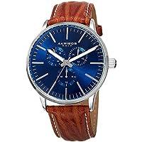 Akribos XXIV Omni Mens Casual Watch - Sunburst Effect Dial - Quartz Movement - Leather Strap - Brown Blue