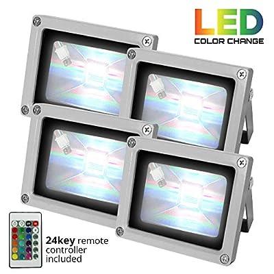 4pcs 10W RGB LED Flood Light Waterproof Landscape Lamps Kit Remote Control