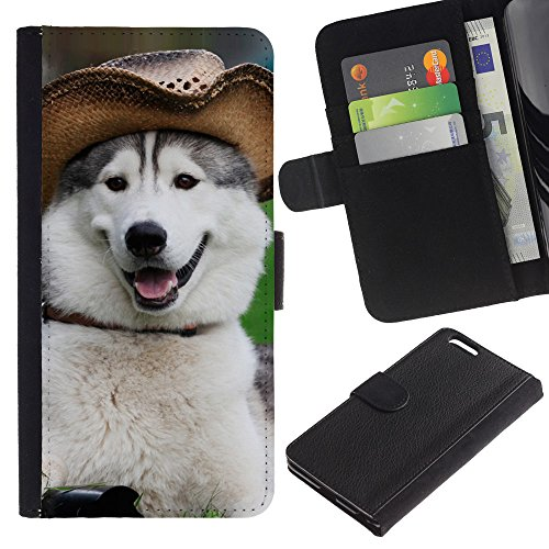 OMEGA Case / Apple Iphone 6 PLUS 5.5 / alaskan malamute siberian husky funny / Cuir PU Portefeuille Coverture Shell Armure Coque Coq Cas Etui Housse Case Cover Wallet Credit Card