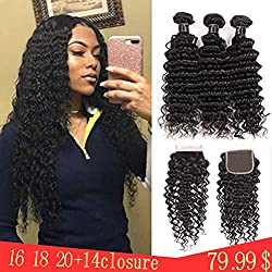 """Brazilian Deep Wave Human Hair Bundles With Closure Human Hair Bundles With 4x4 Lace Closure Free Part,100% 9A Unprocessed Curly Human Hair Extensions Can Be Dyed and Bleached(16"""" 18"""" 20""""+14""""closure)"""