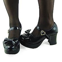 antaina Mid Heel Black PU Bow Heart Buckle Chunky Women's Lolita Platform Shoes