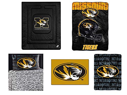 Northwest NCAA Missouri Tigers Locker Room 7pc Ensemble: Includes twin comforter, twin flat sheet, twin fitted sheet, pillowcase, rug, throw, and blanket