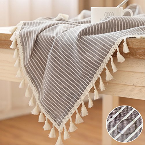 LUCKYHOUSEHOME Coffee and White Stripe Tassel Tablecloth Waterproof Rural Small Home Kitchen Dinning Tabletop Table Cover 39 x 55 Inch]()