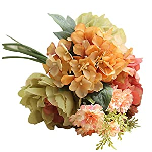 YJYdada Artificial Silk Fake Flowers Peony Floral Wedding Bouquet Bridal Hydrangea Decor (C) 8