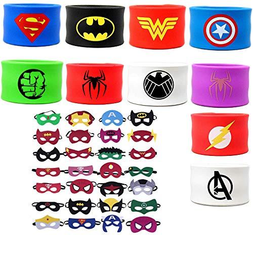 Mintbon 12PCS Superhero Slap Bracelets with 12PCS Superheroes Party Masks for Kids Boys & Girls Birthday Party Supplies -