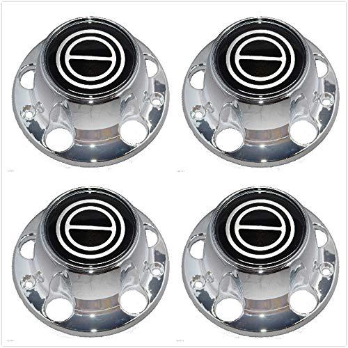 (Gooogo F005-B 1980-1996 Bronco F150 F-150 Van Wheel Hub Center Cap Chrome Black Logo New with Screws for Ford F150 (4))