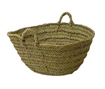 Capazo de Esparto o le/ñero Redondo cesto para la le/ña o decoraci/ón 2V, Aprox. 35-40x13 cm