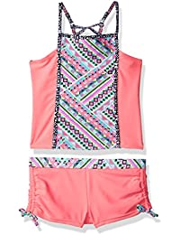 Big Girls' Square High Neck Tankini Set