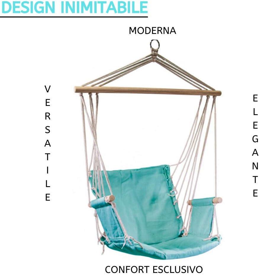 Seduta Sospesa con Supporto in Legno 55x34x91h Verde Acqua Luxurygarden Sedia Sospesa da Giardino Balcone e Terrazzo con Braccioli