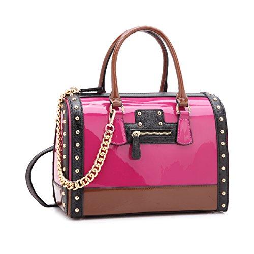 Large Hobo Leather Patent (MMK Collection Fashion Satchel handbag~(7566/7370) Soft/Patent Vegan Leather~Beautiful Designer Purse~Perfect Shoulder Bag~Fashion handbag Set for Women~Beautiful tote bag(Single Satchel 7370 Fushia))