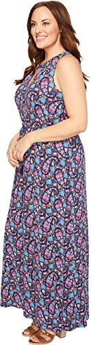 Boho-Chic Vacation & Fall Looks - Standard & Plus Size Styless - Lucky Brand Women's Plus Size Floral Print Long Dress, Multi, 2X