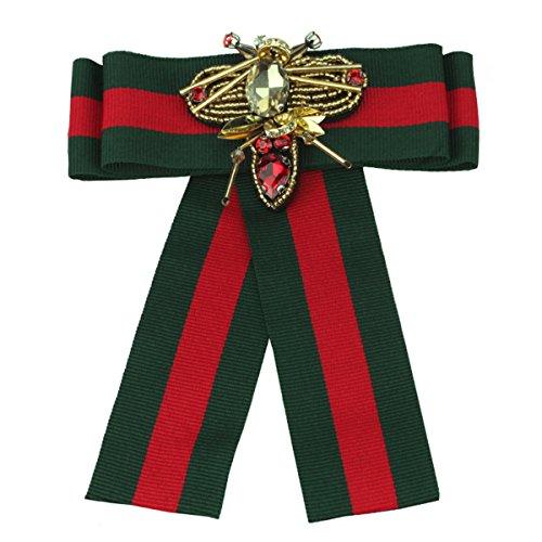 ZOONAI Women/Men Rhinestone Ribbon Pre Tied Neck Tie Wedding Party Bow Tie Brooch Pin